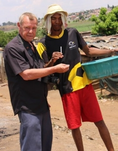 Interacting with a local in shanty town