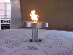 Freedom Charter Flame inside monument